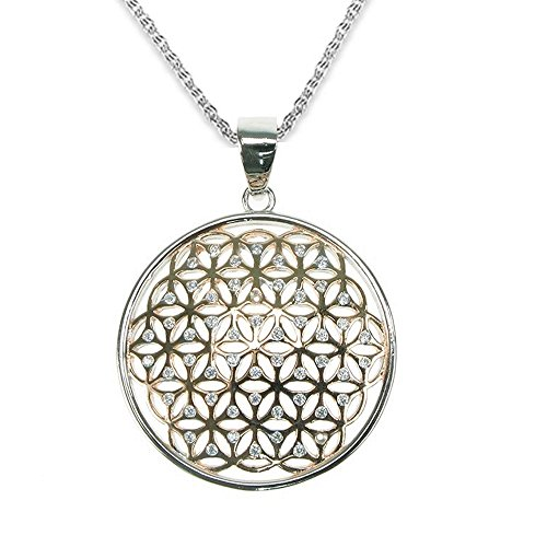 BellaMira Flor de la vida 925 plata esterlina colgante Chakra collar de piedras preciosas naturales joyería hecha a mano en caja de regalo
