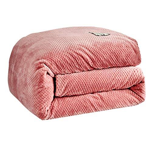 100% Velvet Flannel Comforter, Hypoallergenic Cotton Fiber inside Filler, Soft Fluffy Micro Fleece Warm Quilt with Waffle Pattern, Washable, Red Bean Paste,Full/200&230cm/5.3kg