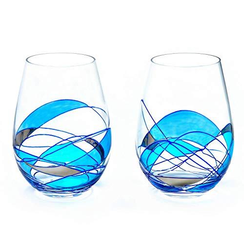 ANTONI BARCELONA Stemless Wine Glasses Set of 2 (21 Oz) - Handblown & Handmade, Painted Blue Wine Glass, Gifts for Women, Birthdays, Anniversaries, and Weddings - 2 Unit (Set 2)
