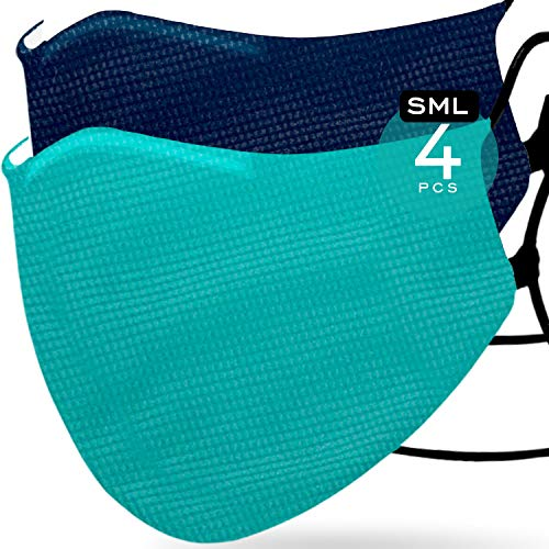 Navy Blue (2) & Ocean Green Sport (2) Face 𝖬𝖺𝗌𝗄𝗌 Waterproof Nano-Zinc Tech & 3D Designed Strapped with Adjustable Ear Loops Washable Reusable up to 30 Times 1 Size FITS All