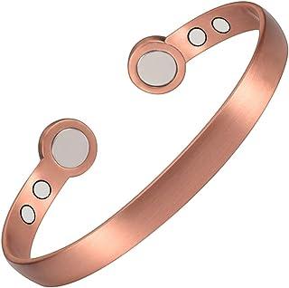 YINOX Bracciali magnetici in rame per artrite uomini donne braccialetti con 6 potenti magneti regolabili da 7,29 '' (WCP-0...