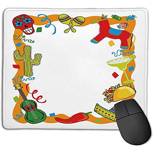 Fiesta,Cartoon Zeichnung Stil mexikanischen Pinata Taco Chili Pepper Sugar Skull Muster Gitarre,Multicolor,Konsolen mehr genießen präzise glatt O 30X25CM