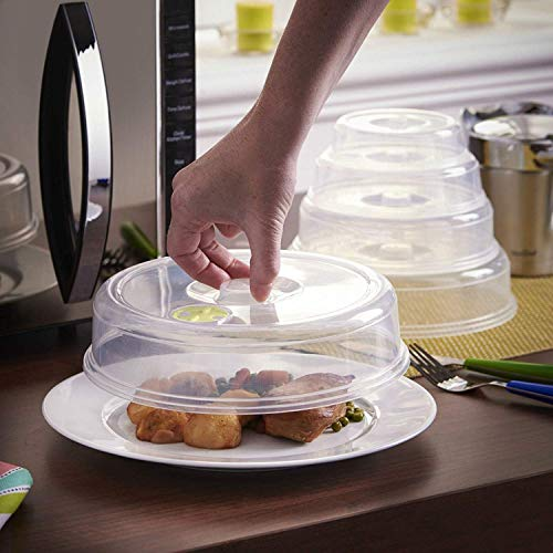 Set of 5 Ventilated Microwave Plate Covers for Covering Food Splatter Mixed Size
