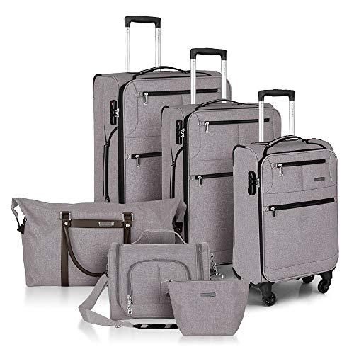 FOCHIER 6-teiliges Set Weichschale Kofferset Rollkoffer TSA Lock 4 Rollen mit 3 Beuteln,Beige-6 teiliges