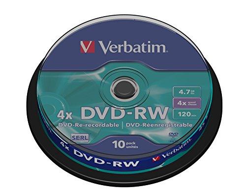 Verbatim DVD-RW - 4.7 GB, 4-fache Brenngeschwindigkeit mit langer Lebensdauer und Kratzschutz, 10er Pack Spindel, mattsilber