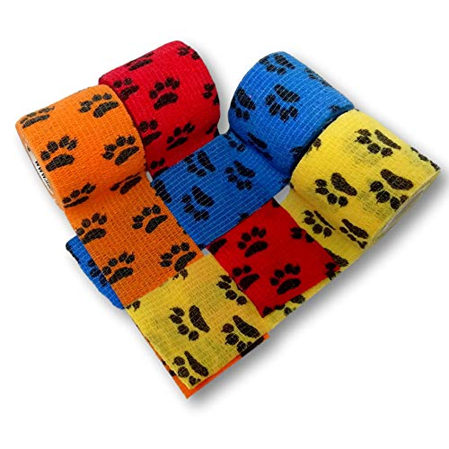 LisaCare Lot de 4 pansements cohésifs pour pattes de chien 5 cm x 4,5 m – Mélange multicolore – Bandage cohésif – Bandage adhésif – Élastique – Sans colle