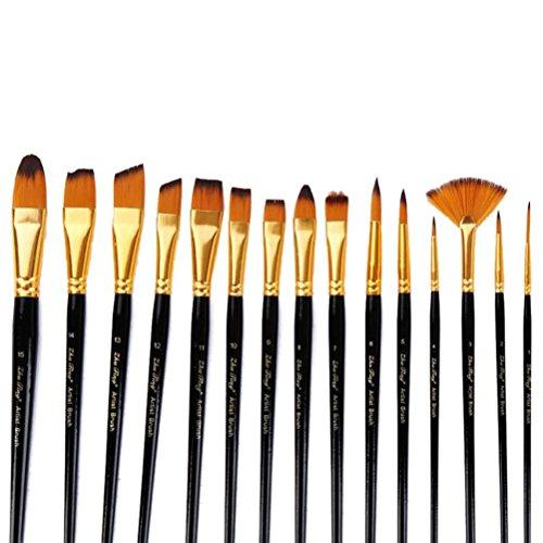 ultnice Peinture Pinceau Set – 15 professionnelle pinceau pour acrylique aquarelle Gouache Peinture Bursh avec sac canvas noir