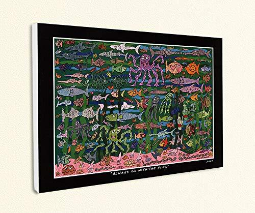 Kunstdruck Always go with The Flow Unterwasserwelt Krake Poster Rizzi Platte 21