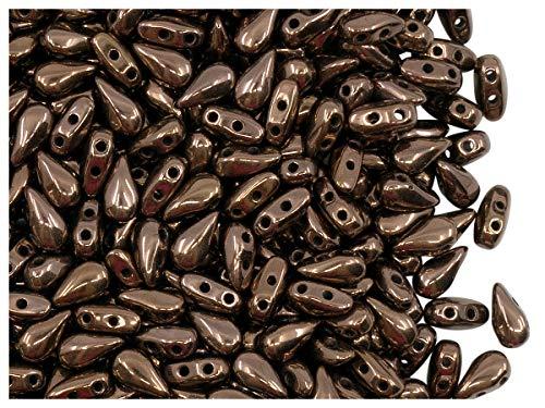 50 Stück DropDuo® Bead - Tschechische Gepresste Glasperlen in Form eines flachen Tropfens 3x6mm mit zwei Löchern, Jet Bronze Luster (Opaque Dark Brown Metallic)