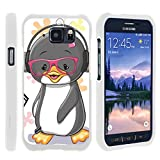 Compatible with Samsung Galaxy S6 Active Case | G890 [Slim Duo] Hard Shell Snap On Case Fitted Protector Matte on White Ocean Beach by TurtleArmor - Cute Penguin