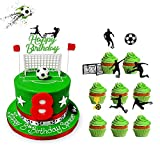 Set of 33 Glitter Play Soccer Cake Topper and Football Play Cupcake Toppers Set, Soccer Ball Themed Birthday Party Favors Baby Shower Decorations