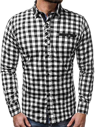 OZONEE Herren Klassisch Hemd Freizeithemd Langarm Karomuster Shirt Casual Slim Fit ZAZZONI 9440 SCHWARZ-WEIß M