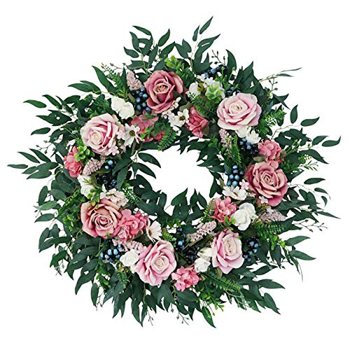 YHNJI Artificial Rose Wreath with Berry, Rose Flower Spring Wreath Natural Rattan Garland Wall Hanging Ornament for Home Farmhouse Front Door Wedding Decor