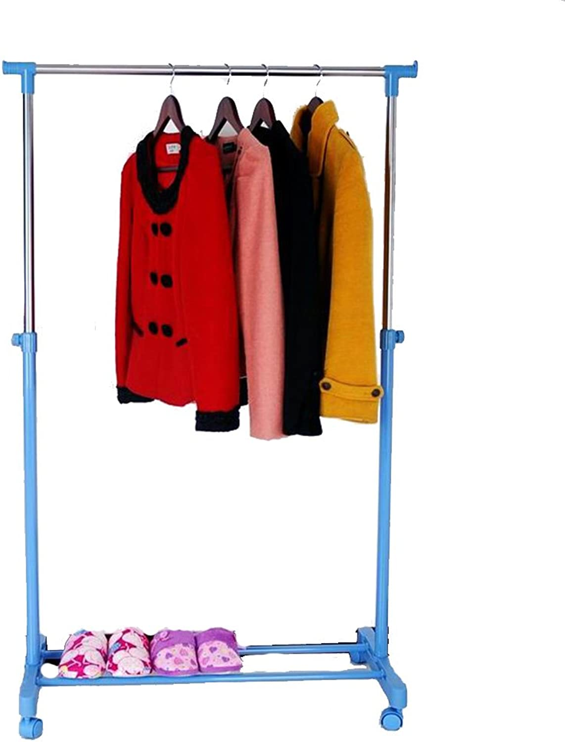 Floor Standing Hat and Coat Adjustable Height Pulley with Multi-Function Storage Rack Stainless Steel (3 colors Available) Tingting (color   bluee)