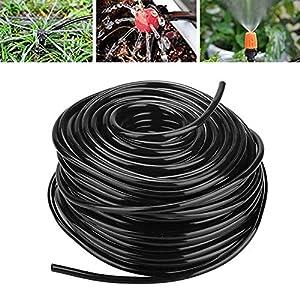 Tubería de riego de jardín Sistema de lluvia Manguera de conexión por goteo Negro Disponible en 3 longitudes(50m)