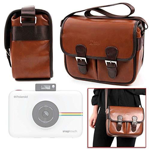 DURAGADGET Bolsa Profesional marrón con Compartimentos para Cámara Polaroid Snap Touch 2.0