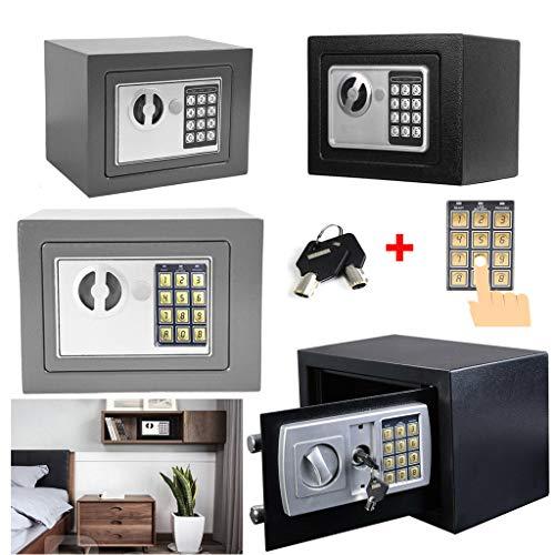 Tresor Safe 23x17x17 cm mit 2 Doppelstahlbolzen, Elektronischem Tresor mit Zahlenschloß + 2 Notschlüssel, Sicherheitsbox für Hotel, Büro und Heim, Schwarz