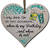 Handmade Wooden Hanging Heart Plaque Gift for Gin Lovers Novelty Funny Birthday Keepsake