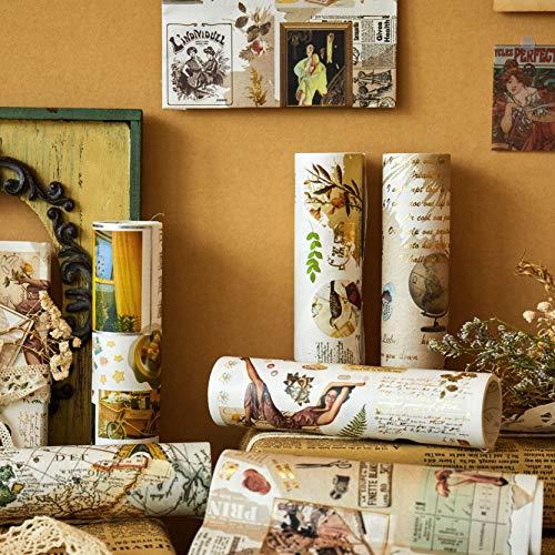 Papel De Regalo, Lychii 6 Rolls Hot Stamping Papel De Recortes, Vintage Decor Gold Foil Paper Rolls - 15cm*120cm*6 Design Supplied