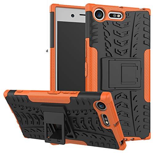 LiuShan Sony XZ Premium Custodia, Protettiva Shockproof Rigida Dual Layer Resistente agli Urti con cavalletto Caso per Sony Xperia XZ Premium Smartphone(con 4in1 Regalo impacchettato),Arancione