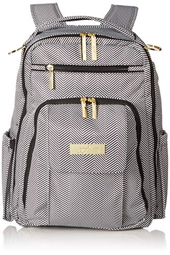 JuJuBe Be Right Back Multi-Functional Structured Backpack/Diaper Bag, Legacy Collection - The Queen of The Nile - Black/White Chevron