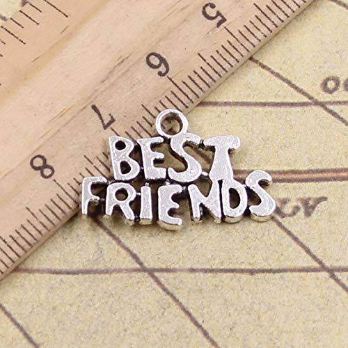WANM 20Pcs Charms Best Friends 24X16Mm Antique Bronze Silver Color Pendants Making Diy Handmade Tibetan Finding Jewelry For Bracelet