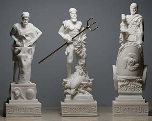 3 griechische Götter, Poseidon-, Ares-, Hephaestus-Statuen-, Skulptur-, Figuren-Set