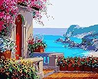 油絵 数字キットによる デジタル インテリア キャンバスの油絵子供 ホーム オフィス装飾 40x50センチ-海辺のフラワーハウス_額装