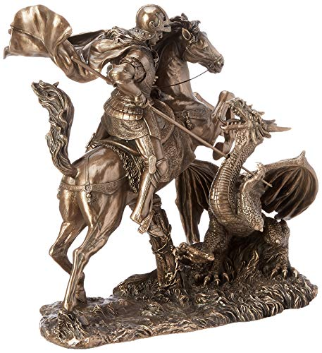 Design Toscano St. George Slaying the Dragon Sculpture in Faux Bronze