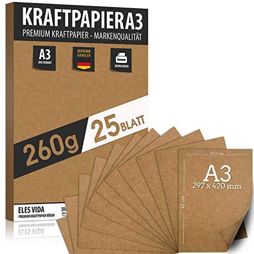 25 Blatt Kraftpapier A3 Set - 260 g - 29,7 x 42 cm - DIN Format - Bastelpapier & Naturkarton Pappe Blätter aus Kraftkarton zum Drucken, Kartonpapier Basteln für Vintage Hochzeit Geschenke Etiketten