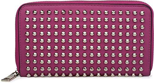 styleBREAKER Damen Geldbörse mit Nieten, Reißverschluss, Portemonnaie 02040112, Farbe:Himbeere