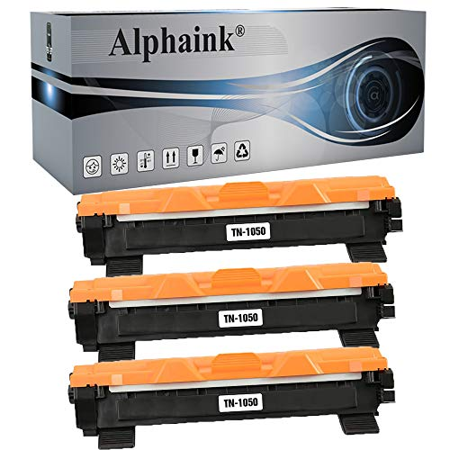 3 Toner Alphaink Compatibile con Brother TN-1050 versione da 1000 copie per stampanti Brother DCP1510 DCP1512 DCP1601 DCP1610W HL1110 HL1112 HL1211W MFC1810 MFC1815 MFC1910 (3 Toner)