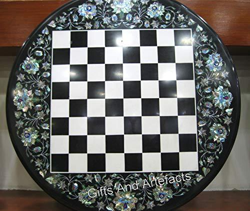 Gifts And Artefacts Table basse ronde en marbre noir pour patio - Table d'échecs - Table en marqueterie artistique avec coquille d'ormeau brillant - Meuble de maison élégant - 61 cm