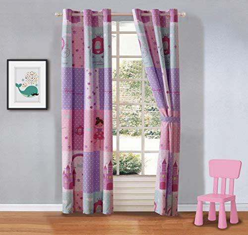 Fancy Linen 2 Panel Curtain Set with Grommets Princess Castle Fairy Tales Pink Lavender White Aqua New