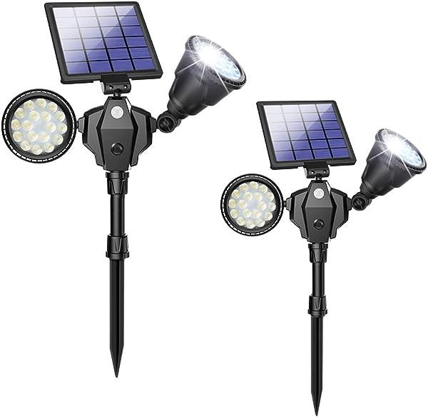 Solar Spot Lights Outdoor 36 LED Landscape Lamps Double Head 1000 Lumens Bright Spotlight Waterproof Flood Lamp With Motion Sensor For Deck Yard Garden Garage Driveway White 2 Pack