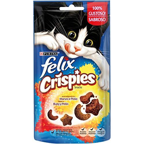Purina Felix Party Mix Crispies Snacks, golosinas y chuches para gato Buey y Pollo 8 x 45 g