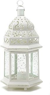 Gifts & Decor Large White Moroccan Lantern Ornate Metal Glass Light