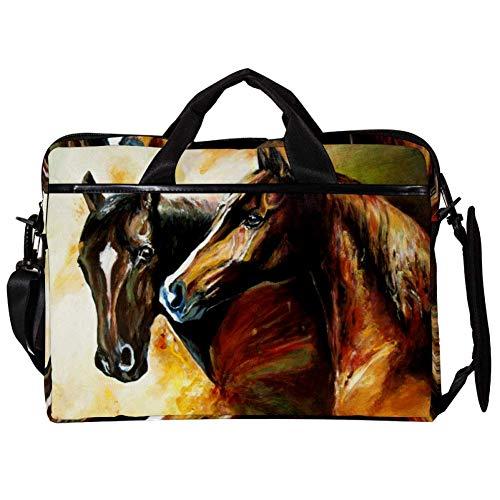 Tizorax Laptop Messenger schoudertassen schilderen paard computer sleeve notebook draagtas 15-15,4 inch handtas