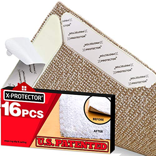 X-Protector Rug Grippers Best 16 pcs Anti Curling Rug Gripper. Keeps Your Rug in Place & Makes Corners Flat. Premium Carpet Gripper with Renewable Carpet Tape – Ideal Non Slip Rug Pad for Your Rug!