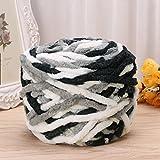 100g/1ball Soft Cotton Hand Knitting Yarn Super Chunky Bulky Woven Worested Yarn for Crochet (Black & White)
