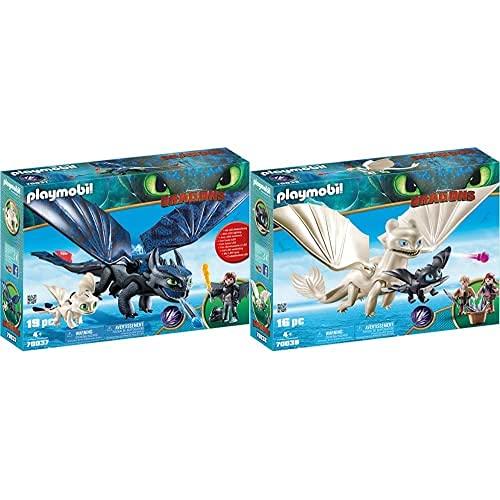 PLAYMOBIL DreamWorks Dragons HIPO Y Desdentao con Bebé Dragón, A Partir De 4 Años (70037) + Dragons Furia Diurna Y Bebé Dragón con Niños, A Partir De 4 Años (70038)