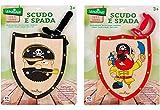 Globo Giocattoli Globo–375592Assortiti Legnoland dei Pirati in Legno con Scudo e Spada (Taglia Unica)