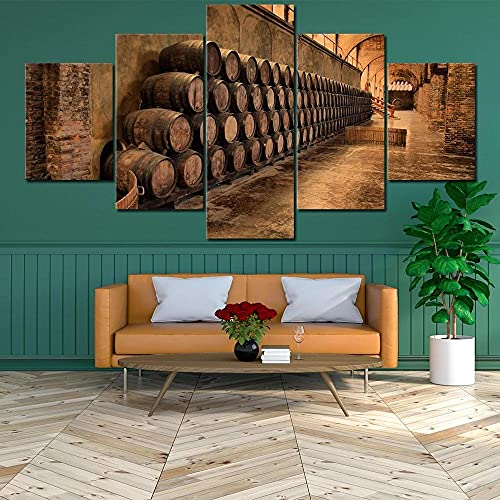 5 Piezas de Arte Marco Cuadros Decoracion Salon Póster Impresiones de Barril de Vino Moderno HD sobre lienzos impresión Cuadro Usado para Sala Oficina Hogar Decoracion de Pared