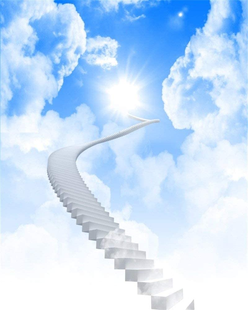 5X7FT Vinyl Photography Backdrop Dreamy Fairy Tale Holy Light Blue Sky White Cloud Stairway to Heaven Background Sweet Baby Kids Adults Photo Studio Props
