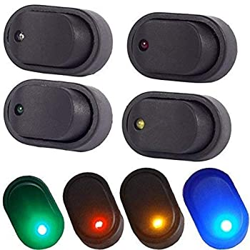 COONLINE 12V 30A Toggle Switch Rocker Switch Waterproof LED Blue Green Yellow Red Lighted 3P SPST On-Off Control for Car Truck Boat Marine Auto Motorcycle 4Pcs