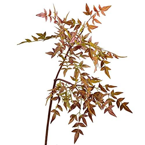 Imagen de flores falsas Hojas artificiales de hojas de Tianzhu y hojas de nueve estrellas, Decoración de la habitación del modelo del club de hotel, decoración del hogar de bodas para la disposición d