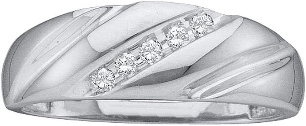Dazzlingrock Collection 10kt White Gold Mens Round Diamond Wedding Band Ring 1/10 ctw