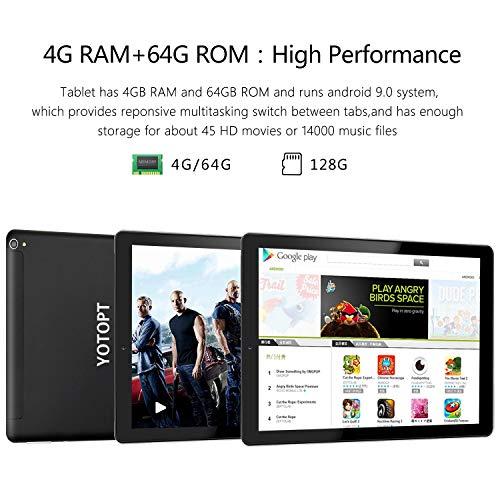 YOTOPT Tablet 10 Zoll mit Hülle, Android 10.0, 4G Dual SIM, 64GB, 4GB RAM, Wi-Fi/Bluetooth/GPS, Type-C, Schwarz