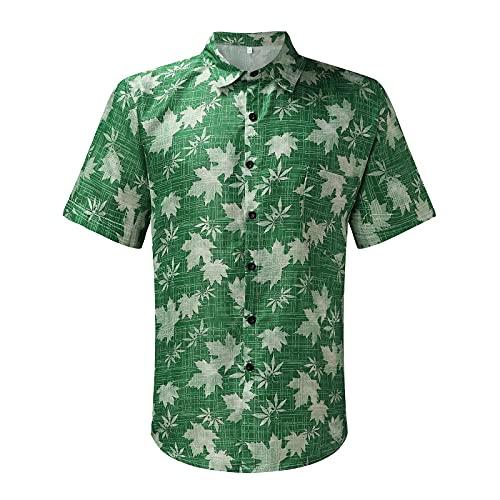Ykghfd Blusa de la camiseta de la blusa de la solapa de los hombres de la moda, verde, M