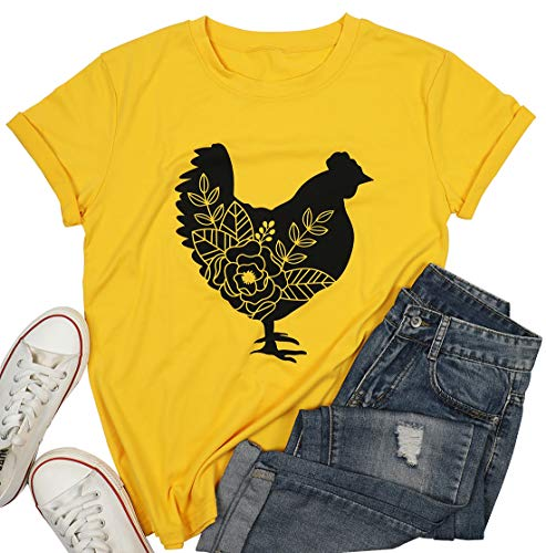 MOUSYA Womens Farm Life Shirts Chicken Beets Graphic Country T Shirts Farm Girl Letter Print Tops (Yellow, Large)